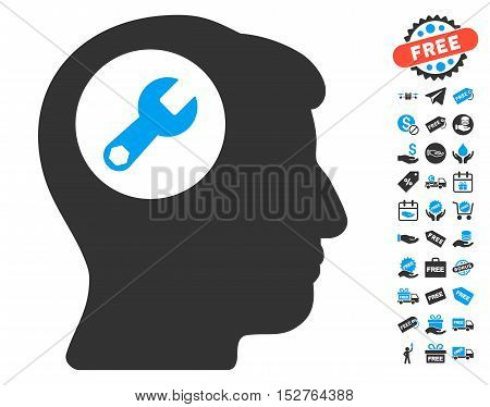 Head Wrench pictograph with free bonus design elements. Vector illustration style is flat iconic symbols, blue and gray colors, white background.