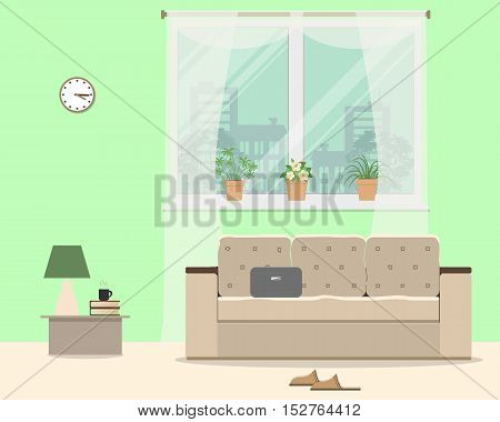 Living room in green color. There is a sofa, a window with flowers, a table, room slippers and other objects in the picture. Vector flat illustration
