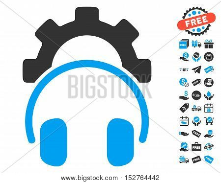 Headphones Configuration Gear pictograph with free bonus pictures. Vector illustration style is flat iconic symbols, blue and gray colors, white background.