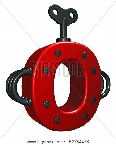 letter o with decorative pieces - 3d rendering