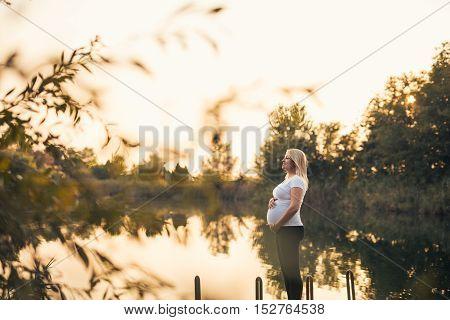 Pregnent Woman Enjoying Nature