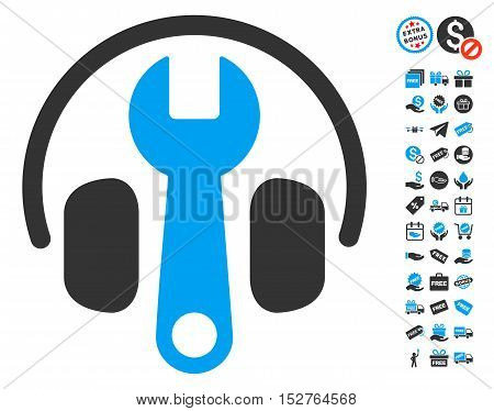 Headphones Tuning Wrench pictograph with free bonus pictograms. Vector illustration style is flat iconic symbols, blue and gray colors, white background.