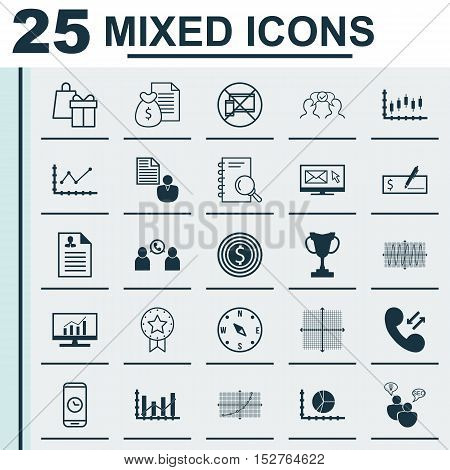 Set Of 25 Universal Editable Icons For Statistics, Project Management And Business Management Topics