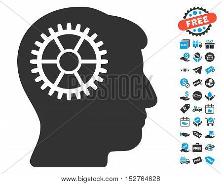 Intellect Cog pictograph with free bonus pictograph collection. Vector illustration style is flat iconic symbols, blue and gray colors, white background.