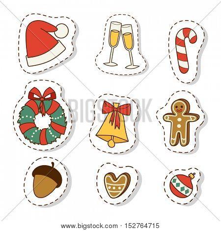 Christmas icons symbols vector set.