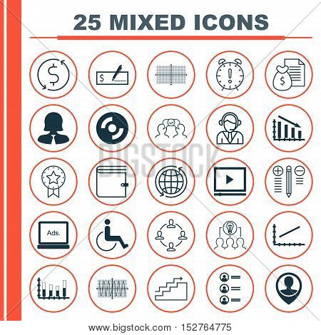 Set Of 25 Universal Editable Icons For Traveling, Business Management And Transportation Topics. Inc