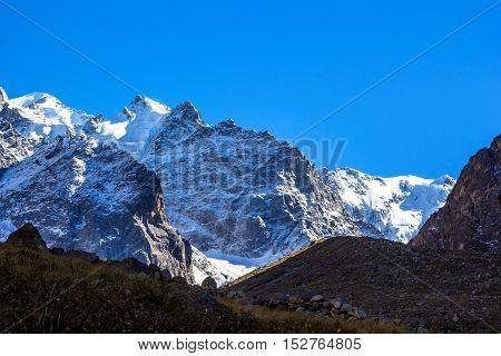 mountain landscape, wild nature, beautiful place, blue sky