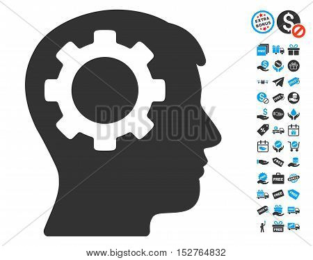 Intellect Gear pictograph with free bonus clip art. Vector illustration style is flat iconic symbols, blue and gray colors, white background.