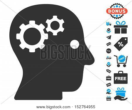 Intellect Gears pictograph with free bonus icon set. Vector illustration style is flat iconic symbols, blue and gray colors, white background.