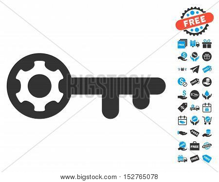 Key Options icon with free bonus pictograms. Vector illustration style is flat iconic symbols, blue and gray colors, white background.