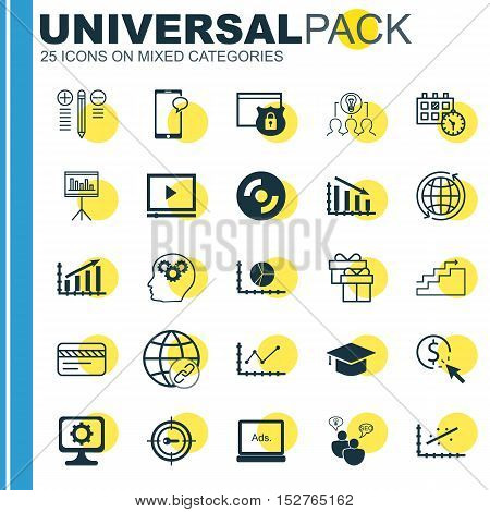 Set Of 25 Universal Editable Icons For Human Resources, Education And Computer Hardware Topics. Incl