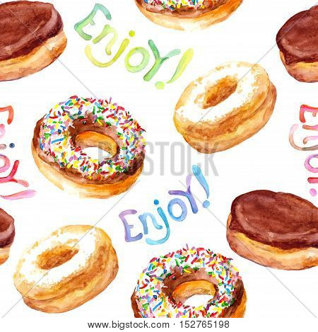 Seamless watercolor painted pattern with hand drawn baked donuts on paper texture