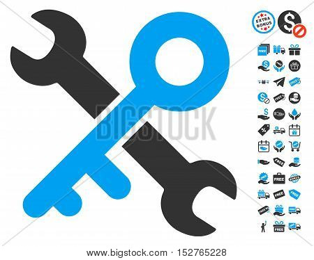Key Tools pictograph with free bonus pictures. Vector illustration style is flat iconic symbols, blue and gray colors, white background.