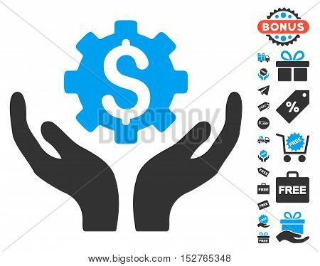 Maintenance Price pictograph with free bonus pictograph collection. Vector illustration style is flat iconic symbols, blue and gray colors, white background.