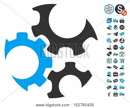 Mechanics Gears icon with free bonus symbols. Vector illustration style is flat iconic symbols, blue and gray colors, white background.