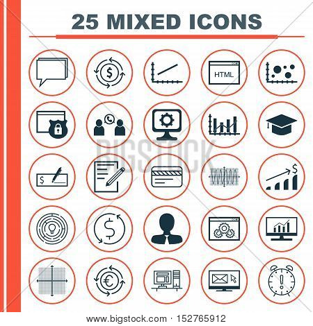Set Of 25 Universal Editable Icons For Education, Seo And Human Resources Topics. Includes Icons Suc