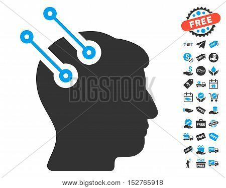 Neural Interface Connectors icon with free bonus pictograph collection. Vector illustration style is flat iconic symbols, blue and gray colors, white background.