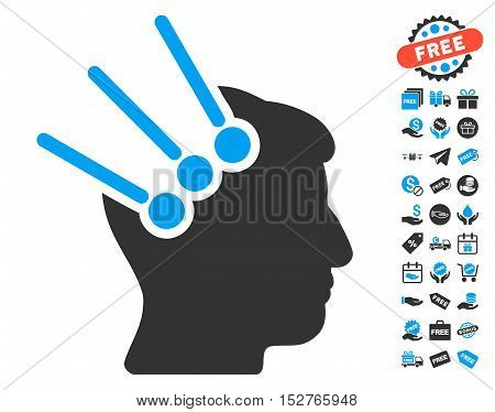 Neural Interface Connectors pictograph with free bonus pictograph collection. Vector illustration style is flat iconic symbols, blue and gray colors, white background.