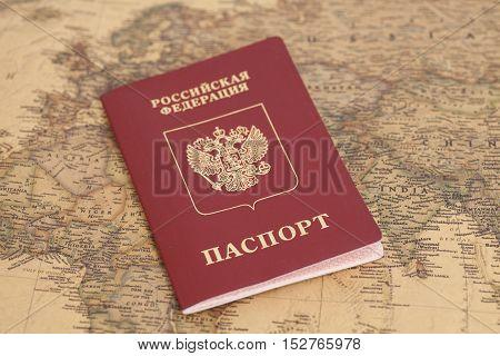 Russian International passport on map close up