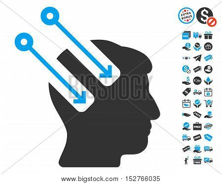Neural Interface pictograph with free bonus design elements. Vector illustration style is flat iconic symbols, blue and gray colors, white background.