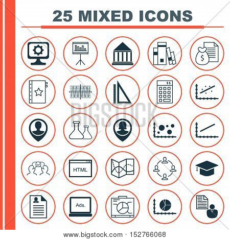 Set Of 25 Universal Editable Icons For Airport, Education And Advertising Topics. Includes Icons Suc