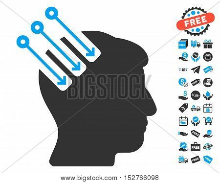 Neuro Interface pictograph with free bonus pictures. Vector illustration style is flat iconic symbols, blue and gray colors, white background.