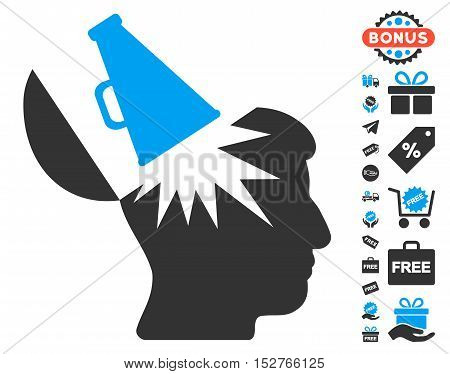 Open Brain Megaphone pictograph with free bonus icon set. Vector illustration style is flat iconic symbols, blue and gray colors, white background.