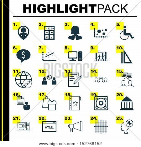 Set Of 25 Universal Editable Icons For Advertising, Business Management And Seo Topics. Includes Ico