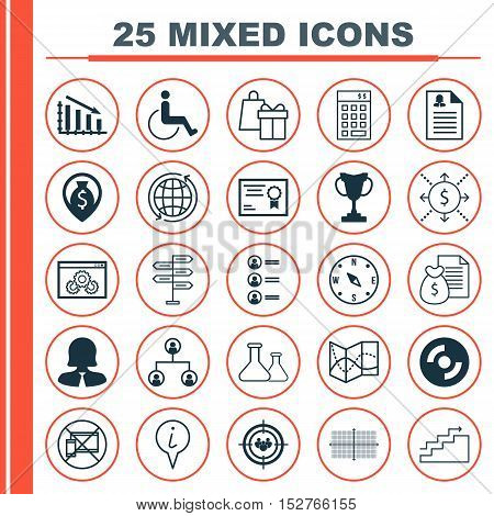 Set Of 25 Universal Editable Icons For Management, Transportation And Education Topics. Includes Ico
