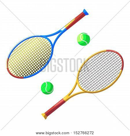 Two tennis rackets and two balls isolated on white background. Stock vector illustration.