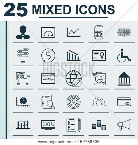 Set Of 25 Universal Editable Icons For Seo, Marketing And Traveling Topics. Includes Icons Such As C