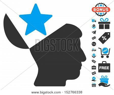 Open Head Star pictograph with free bonus images. Vector illustration style is flat iconic symbols, blue and gray colors, white background.