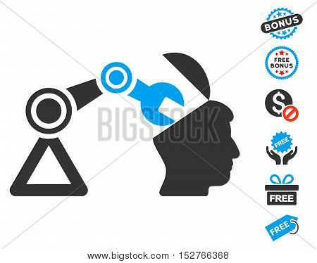 Open Head Surgery Manipulator icon with free bonus design elements. Vector illustration style is flat iconic symbols, blue and gray colors, white background.