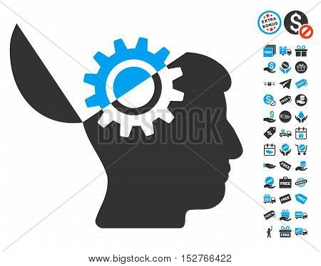 Open Mind Gear pictograph with free bonus images. Vector illustration style is flat iconic symbols, blue and gray colors, white background.