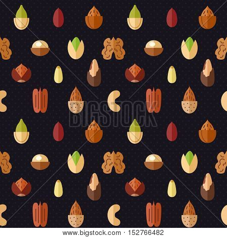 Nuts and seeds vector seamless pattern. Modern flat design.