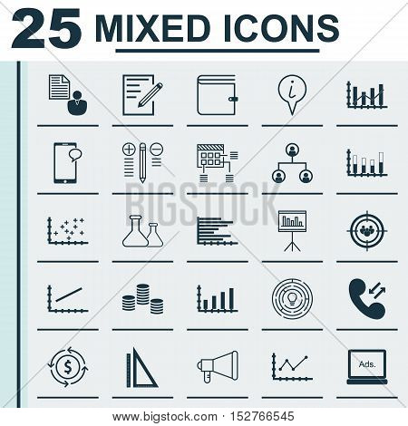 Set Of 25 Universal Editable Icons For Project Management, School And Seo Topics. Includes Icons Suc