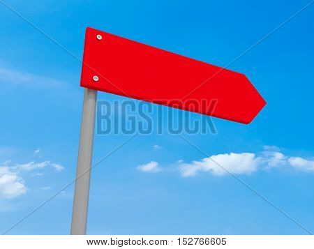 Blank Red Road Sign Arrow 3d illustration