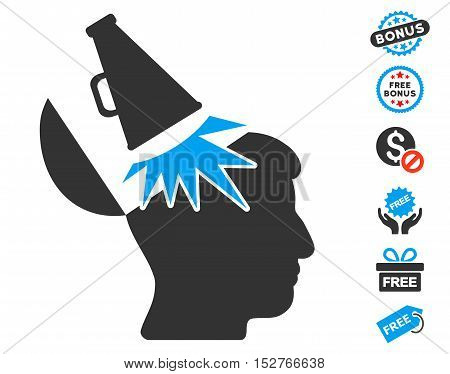Open Mind Megaphone icon with free bonus graphic icons. Vector illustration style is flat iconic symbols, blue and gray colors, white background.