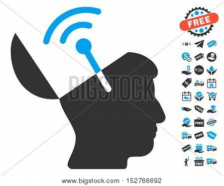 Open Mind Radio Interface icon with free bonus symbols. Vector illustration style is flat iconic symbols, blue and gray colors, white background.