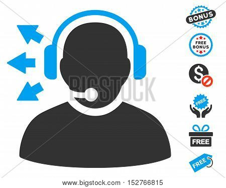 Operator Answer Speech icon with free bonus pictures. Vector illustration style is flat iconic symbols, blue and gray colors, white background.