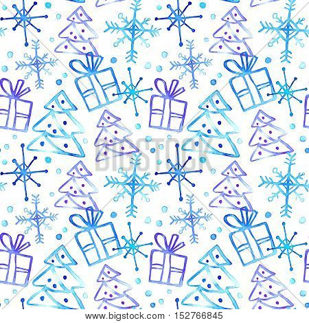Seamless pattern with gift box,Christmas tree and snowflake.Sketch.Watercolor hand drawn illustration.White background.