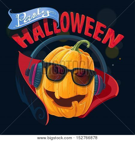 Pumpkin wearing glasses, headphones, a concert party invitation for Halloween