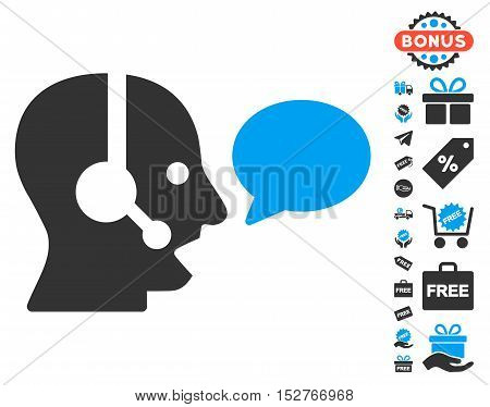 Operator Message Balloon icon with free bonus pictures. Vector illustration style is flat iconic symbols, blue and gray colors, white background.
