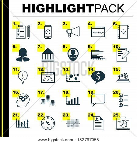 Set Of 25 Universal Editable Icons For Education, Travel And Statistics Topics. Includes Icons Such