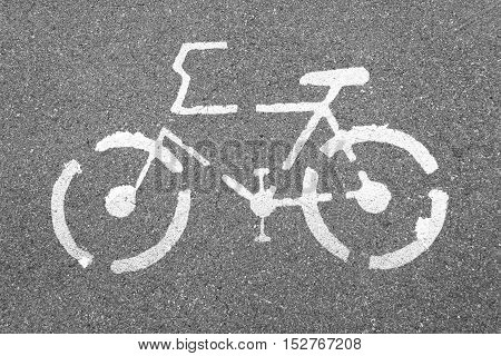 Bicycle sign on concrete texture road Top view