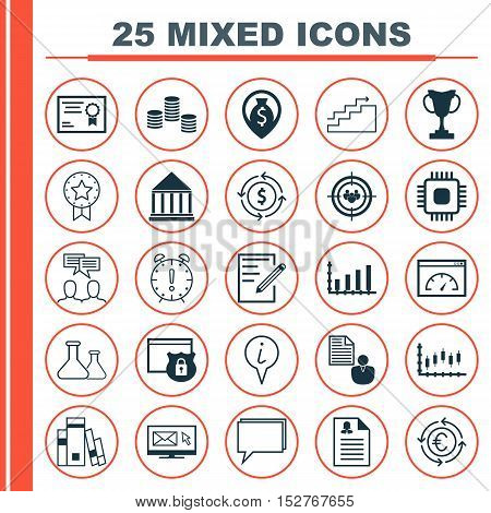 Set Of 25 Universal Editable Icons For Education, Travel And Advertising Topics. Includes Icons Such