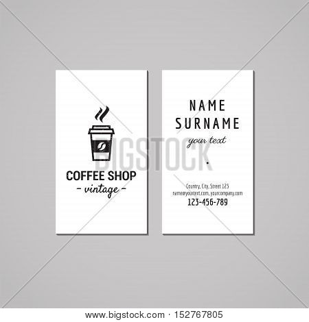 Coffee shop business card design concept. Logo with take away coffee. Vintage hipster and retro style.