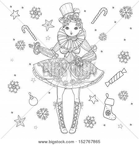 Vector cute fairy gothic lolita girl in nice dress.Vector line christmas illustration.Sketch for postcard or print or coloring adult book.Boho style.