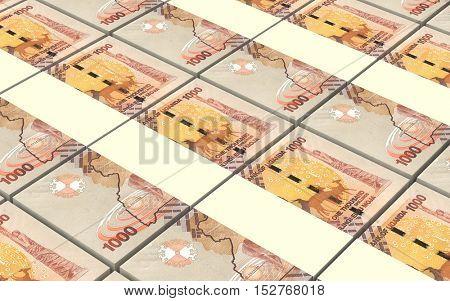 Ugandan shillings bills stacks background. 3D illustration.