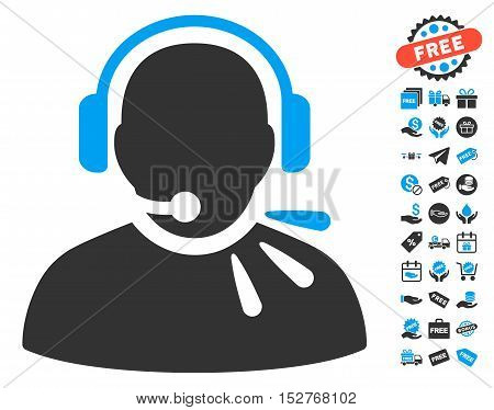 Operator Speech icon with free bonus design elements. Vector illustration style is flat iconic symbols, blue and gray colors, white background.